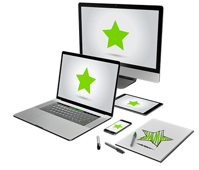 Five different devices with the green UNE star on each screen showing a total of five stars