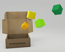 Cardboard box marked PostGrad Degree open to release smaller coloured boxes